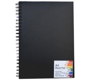 בלוק ציור עם דפים שחורים בגודל A4