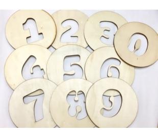 מארז מספרי עץ ליצירה חבילה 0-9  2 שח ליחידה