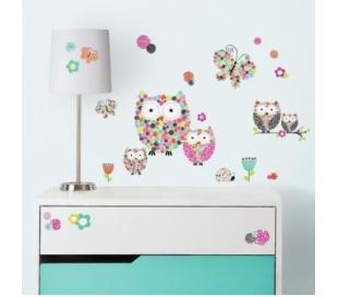 מדבקות קיר ינשופים ופרחים סגנון פריזמה
