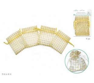 שקיות אורגנזה למארז משבצות בזהב
