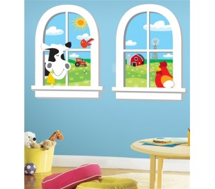 זוג מדבקות חלון עם נוף לחווה