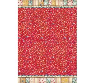 דקופג' אורז גודל A4 - לוח פרחוני אדום