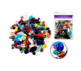 חרוזי זכוכית מעורב צבעים וגדלים 250 גרם