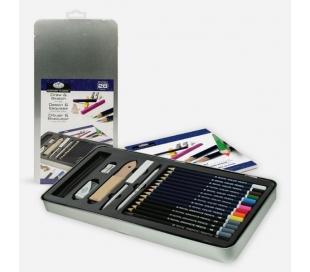סט עפרונות לרישום וציור במארז פח