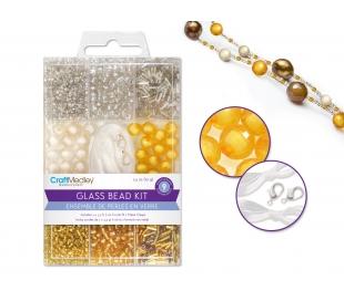מארז חרוזי זכוכית כולל חוט וסוגרים - מטאלי