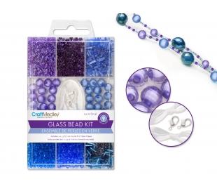מארז חרוזי זכוכית כולל חוט וסוגרים - שמיים