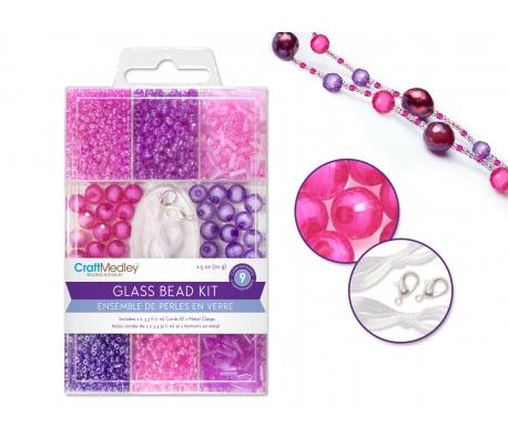 מארז חרוזי זכוכית כולל חוט וסוגרים - אדומים /ורודים