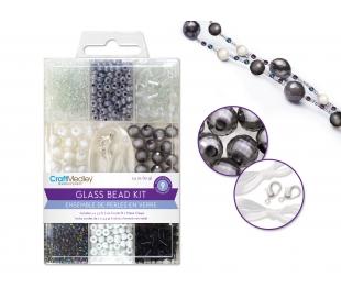 מארז חרוזי זכוכית כולל חוט וסוגרים - קלסיק