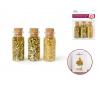 נצנצים וחרוזי ונציה בבקבוקי זכוכית מיני - גוון זהב