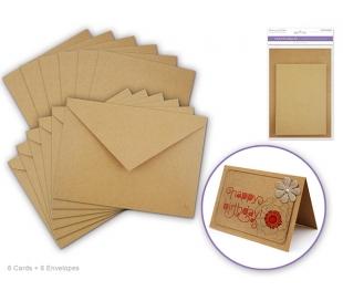 סט של 6 כרטיסי ברכה ומעטפות חלקות - טבעי קרפט