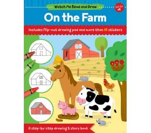 ספר לציור חיות החווה עם דפי אימון ומדבקות