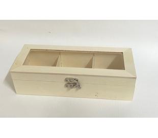 קופסאת עץ 3 תאים פלוס מכסה זכוכית