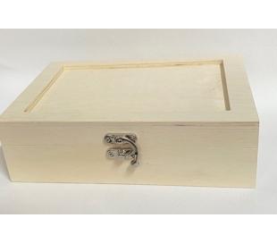 קופסאת עץ בנונית עם מכסה מסגרת
