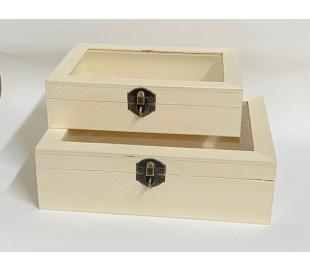 קופסאות עץ לנעילה עם מכסה זכוכית - 2 גדלים