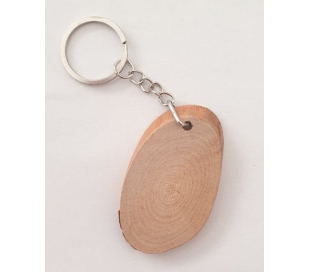 מחזיק מפתחות עץ טבעי אליפסה - 5 יח