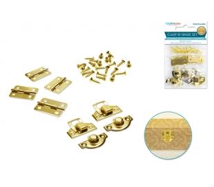 סוגרים וצירים לקופסאות עץ - צבע זהב