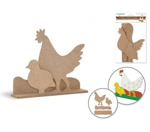 דמויות תרנגול ואפרוח מעץ לצביעה