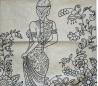 ציפית לכרית נוי לצביעה ויצירה - אישה עם פרחים