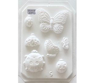 תבנית גבס ליצירה - פרפרים וחיפושיות