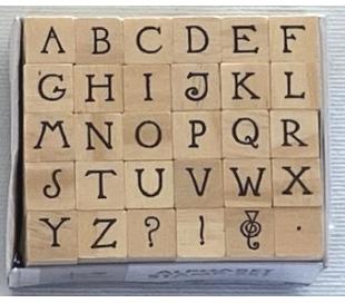 סט חותמות עץ של אותיות כתב יד אנגלית