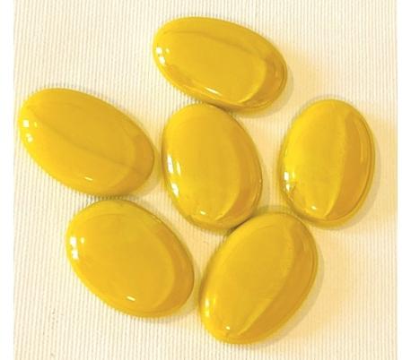 אבני זכוכית נגצים אטומים גדולים אליפסה צהוב