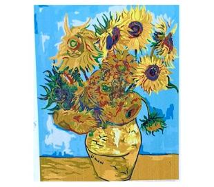 ציור במספרים על קנבס - אגרטל פרחים