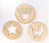 מארז 12 עיצובים בעיגול מעץ במבצע 2 שח יח