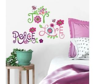 מדבקת קיר כיתוב בפרחים אהבה, אושר ושלום