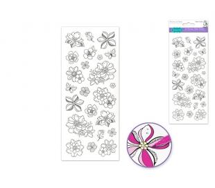 מדבקות צביעה עם נצנצים - פרחים