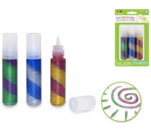 מארז 3 דבק נצנצים צבעוני ליצירה
