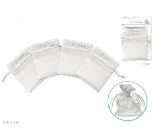 שקיות אורגנזה בעיטור משבצות לבן