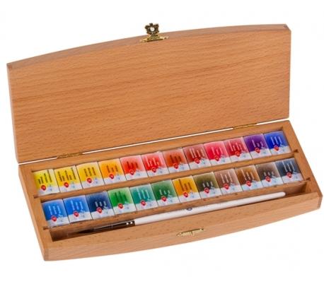 צבעי מים סנט פטרסבורג מקצועיים 24 גוונים בקופסאת עץ מהודר