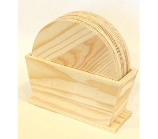 סט תחתיות עץ אורן עגולות עם מעמד