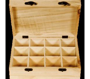 קופסאת תה מעץ 12 תאים