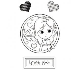 חותמת גומי HD ילדה עם לבבות 7*11 סמ