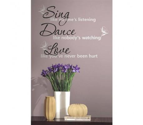 מדבקות קיר לשיר לרקוד ולאהוב