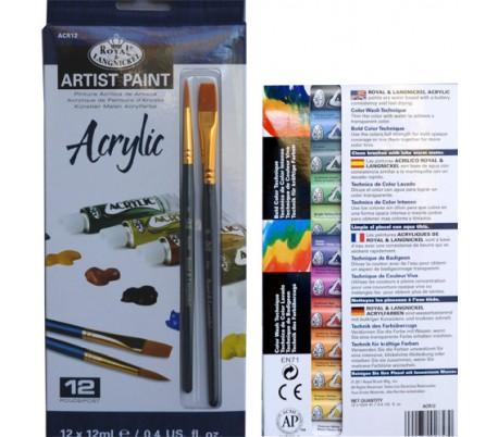 סט 12 צבעי אקרליק רוייאל עם 2 מכחולים