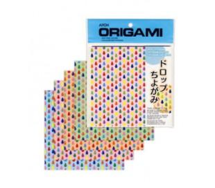 נייר אורגמי עם עיטורי טיפות צבע