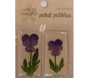 זוג מדבקות פרח בציפוי PVC - סגול