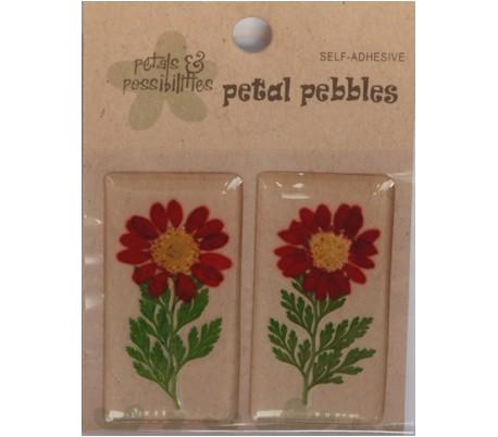 זוג מדבקות פרח טבעי בציפוי PVC - אדום