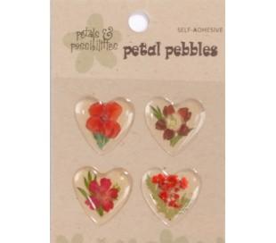 מדבקות פרח בציפוי אפוקסי - לב אדום