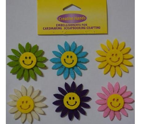 פרחים צבעוניים מחייכים מבד לבד