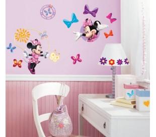 מדבקות קיר מיני מאוס עם פרפרים