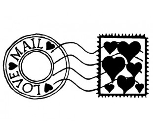 חותמת סיליקון בעיצוב לבבות בדואר 5*7 סמ
