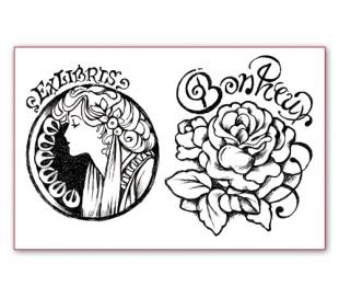 חותמת סיליקון עם דמות ופרח 7*11 סמ