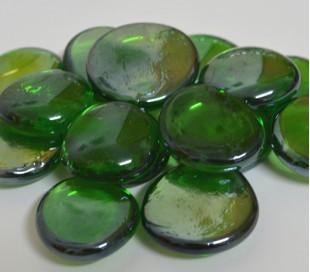 אבני זכוכית - נגצים גדולים ירוק כהה שקוף 200 גרם