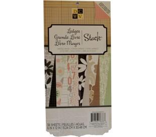 בלוק 36 נייר עיצוב קארדסטוק דו צדדי 15*30 - משבצות ופרח