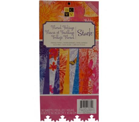 בלוק 36 נייר עיצוב קארדסטוק דו צדדי 15*30 - גן פרחים