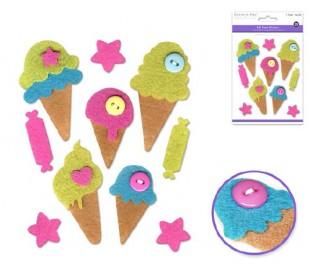 מדבקות לבד בעיטורי כפתורים - גלידה