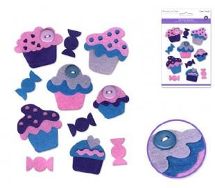 מדבקות לבד עוגיות קאפקייק - כחול